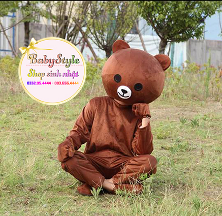 Hình ảnh mascot gấu brown tại shop vô cùng đáng yêu