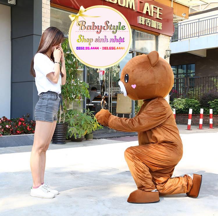 Thuê người mặc mascot gấu Brown tỏ tình