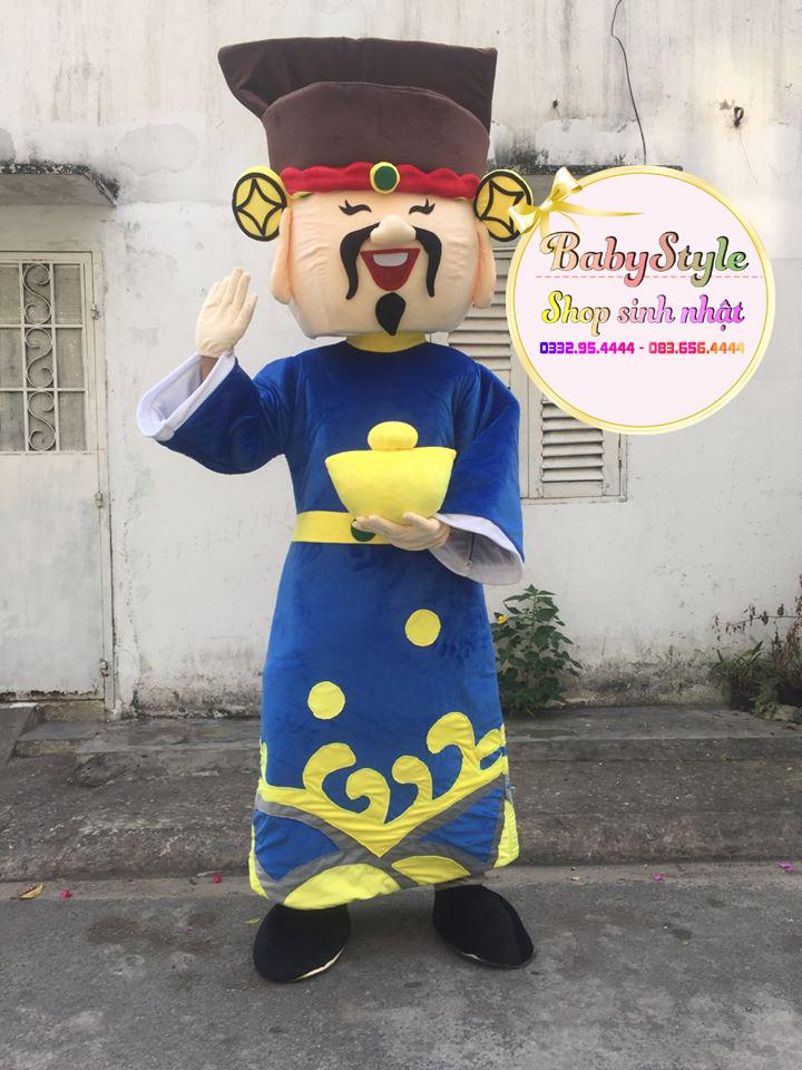 Thuê mascot thần tài màu xanh độc đáo