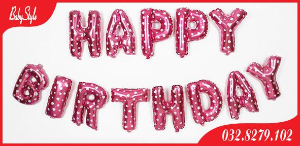 Dây bóng chữ happy birthday màu hồng chấm pi