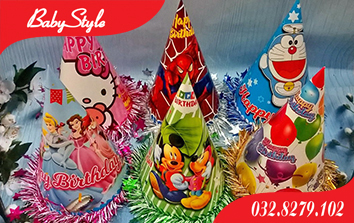 Mũ sinh nhật nhiều màu sắc