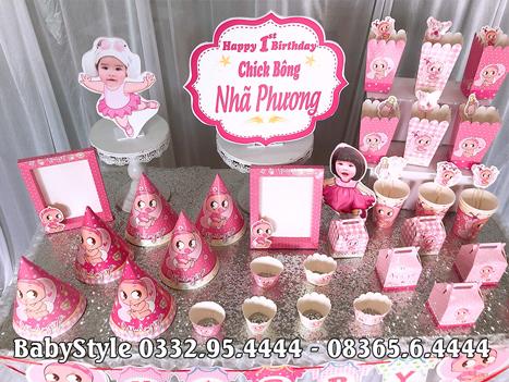 Hình ảnh chi tiết bộ phụ kiện sinh nhật chủ đề Baby Girl