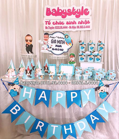 Sét phụ kiện sinh nhật chó xanh combo 6 món