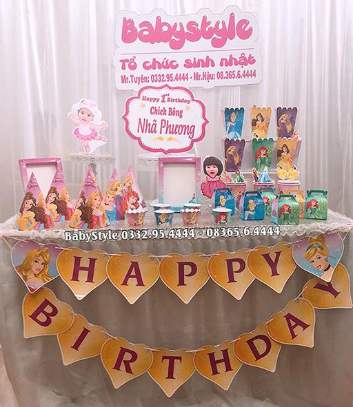 Sét phụ kiện sinh nhật chủ đề công chúa combo 6 món
