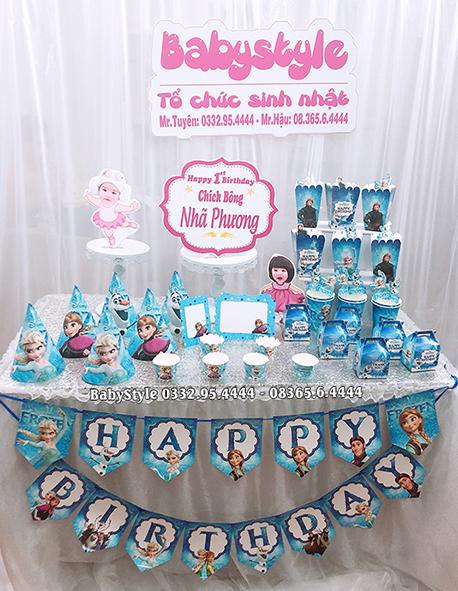 Sét phụ kiện sinh nhật chủ đề công chúa Elsa