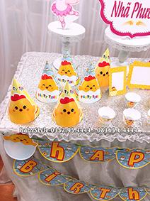 Hình ảnh bộ phụ kiện sinh nhật chủ đề gà con combo 6 món 2