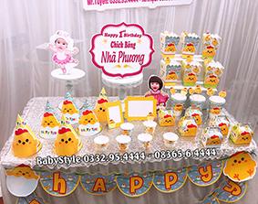 Hình ảnh bộ phụ kiện sinh nhật chủ đề gà con combo 6 món 1