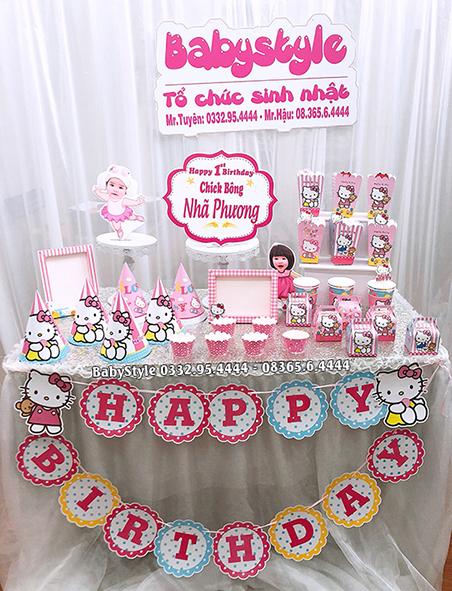 Sét phụ kiện sinh nhật Hello Kitty combo 6 món