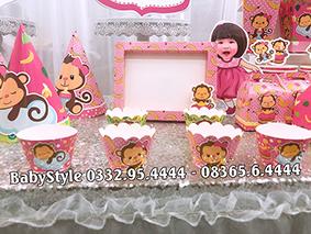 Hình ảnh sét phụ kiện sinh nhật chủ đề khỉ hồng combo 6 món 2