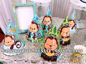 Hình ảnh sét phụ kiện sinh nhật Khỉ xanh combo 6 món 1