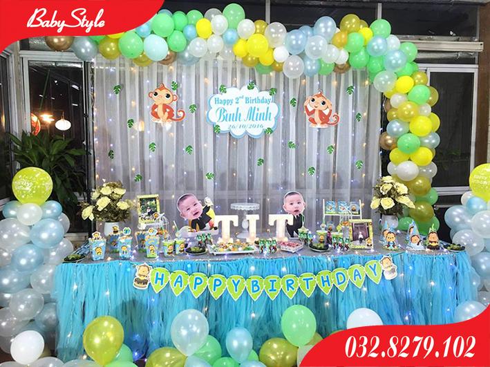 Trang trí tiệc sinh nhật chủ đề khỉ con