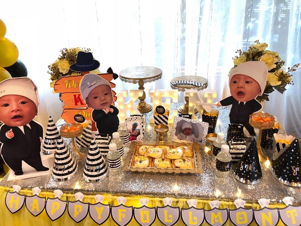trang trí không gian bàn tiệc sinh nhật cho bé trai