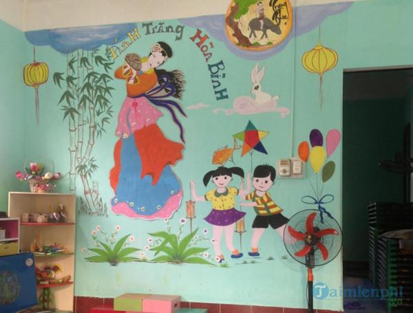 trang trí tường lớp học bằng tranh vẽ